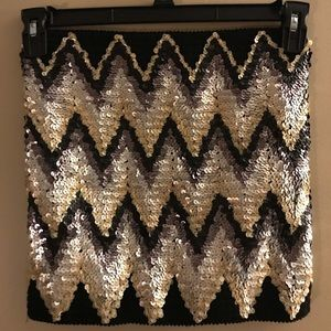 Fitted Black Sequin Mini Skirt